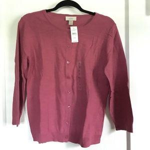 LOFT 3/4 Sleeve Cardigan, Medium, Rose Pink, NWT